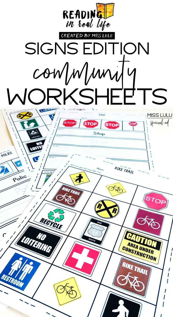Community Signs Worksheets Munity Signs Worksheets Reading In Real Life