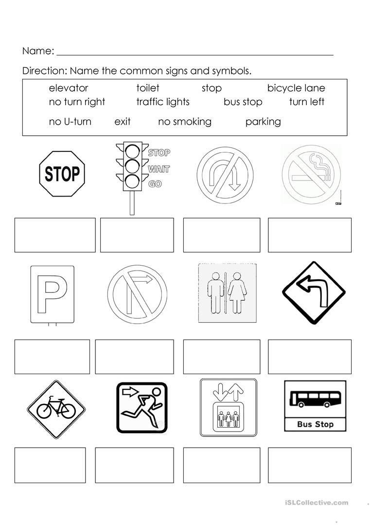 Community Signs Worksheets Signs and Symbols