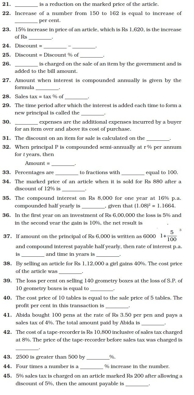 Comparing Quantities Worksheets Class 8 Important Questions for Maths – Paring Quantities