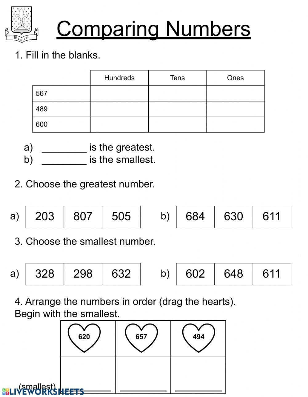 Comparing Quantities Worksheets Paring Numbers Second Grade Interactive Worksheet