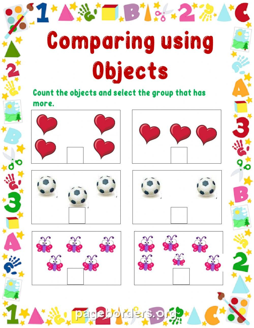 Comparing Quantities Worksheets Paring Objects Interactive Worksheet