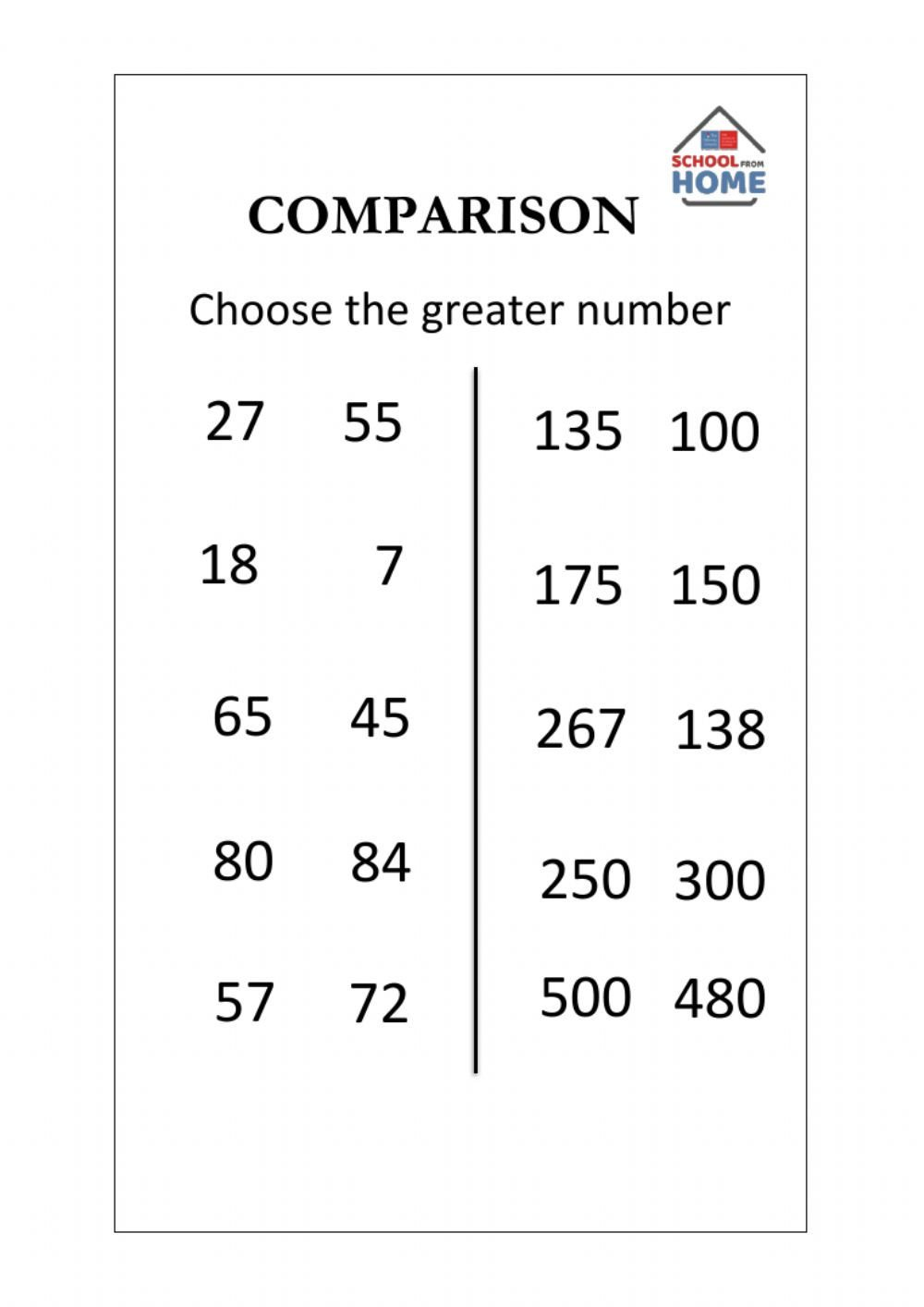 Comparing Quantities Worksheets Parison Of Numbers Interactive Worksheet