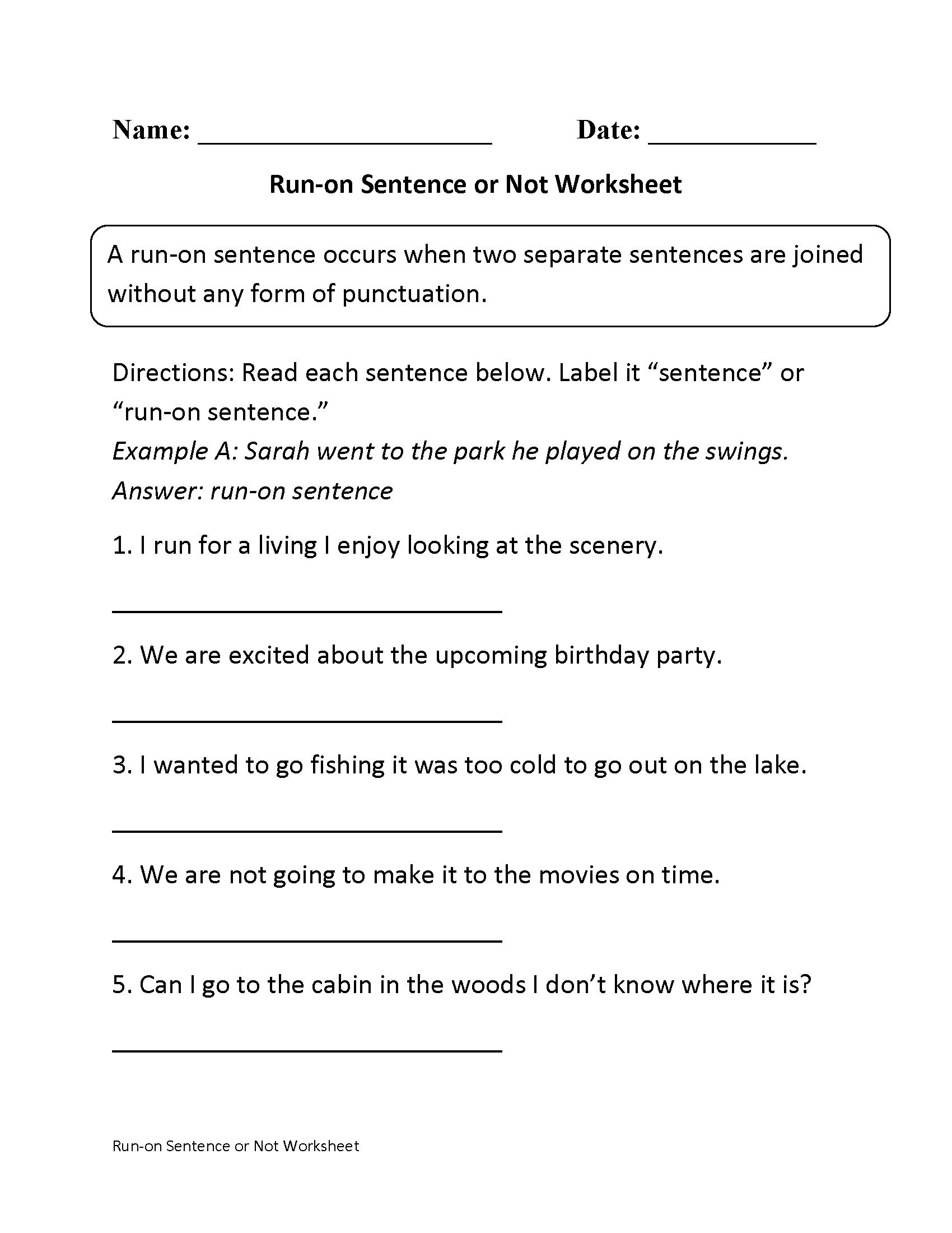 Complete Sentence Worksheet 3rd Grade Run Sentences Worksheet with Paragrafh