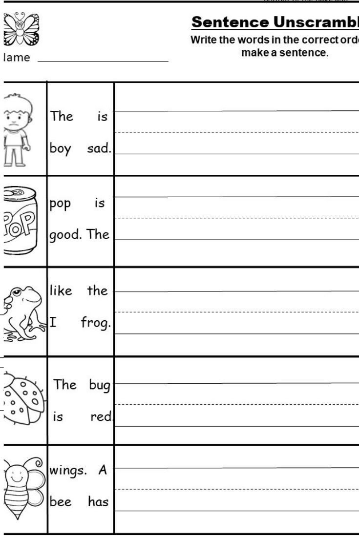 Complete Sentence Worksheets 1st Grade Free Kindergarten Writing Printable Kindermomma