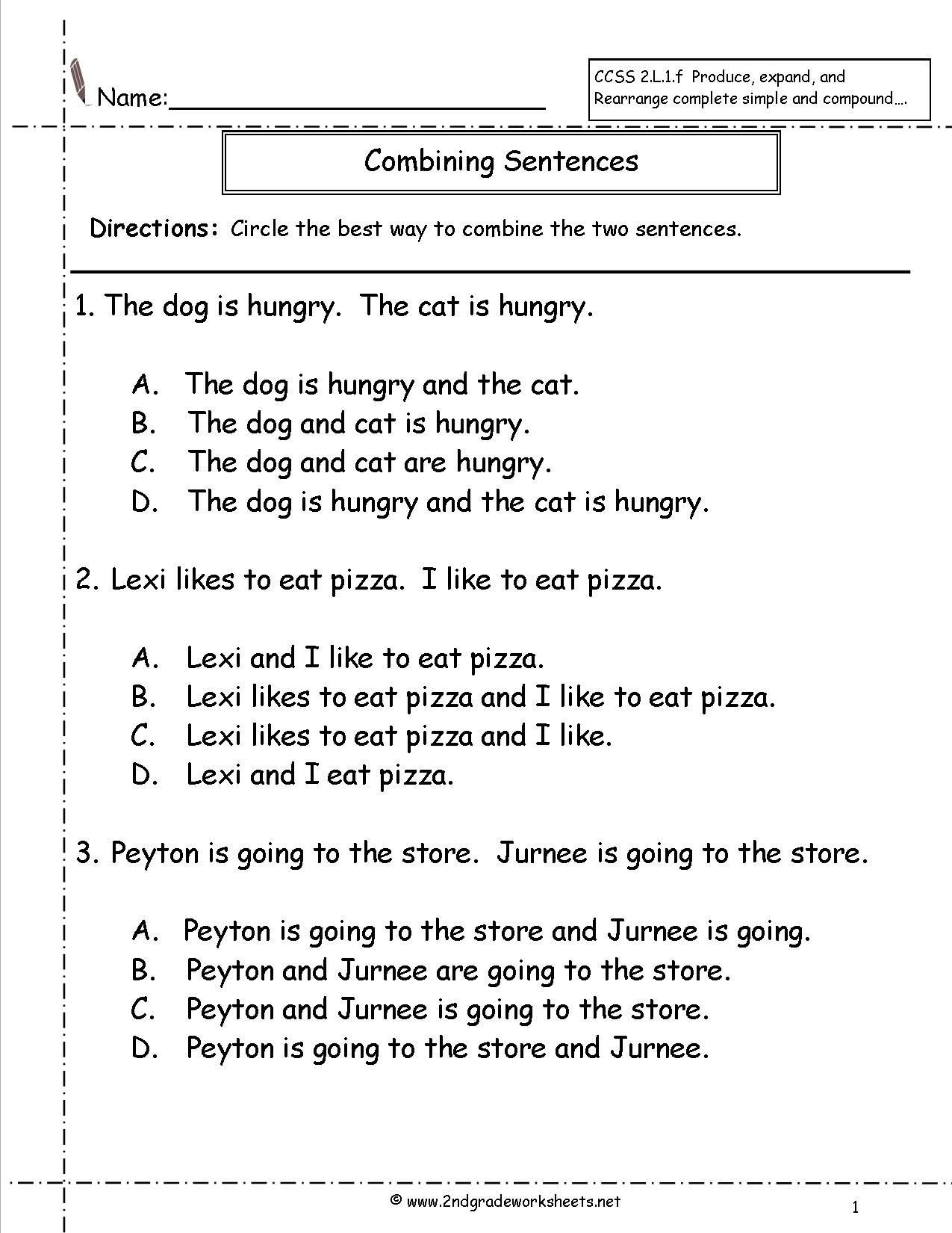 Complete Sentences Worksheets 1st Grade Bining Sentences Worksheet