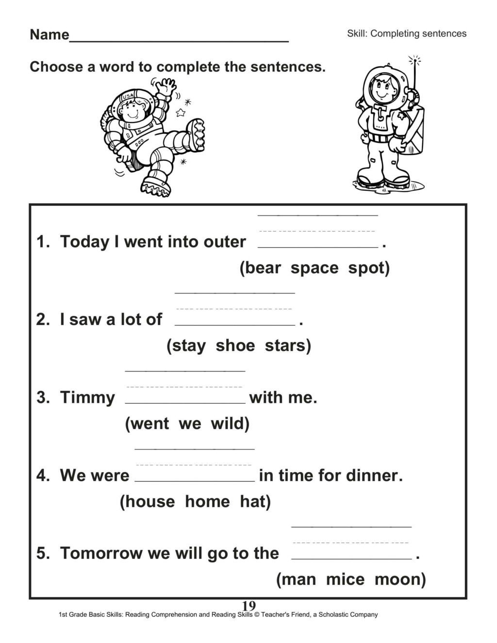 Complete Sentences Worksheets 1st Grade Worksheet 1st Grade Worksheet Reading for Educations