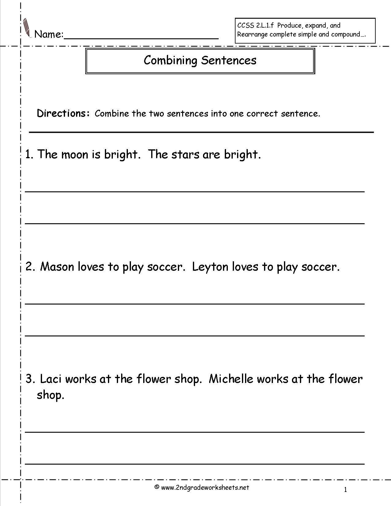 Complete Sentences Worksheets 2nd Grade Bining Sentences Worksheet