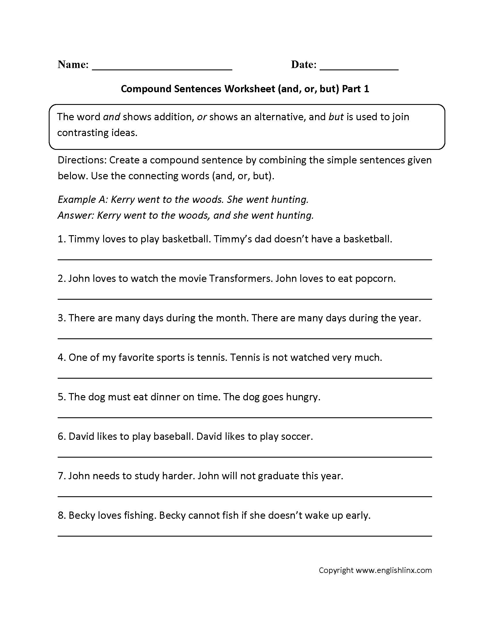 Complex Sentence Worksheets 4th Grade Creating Plex Sentences Worksheet