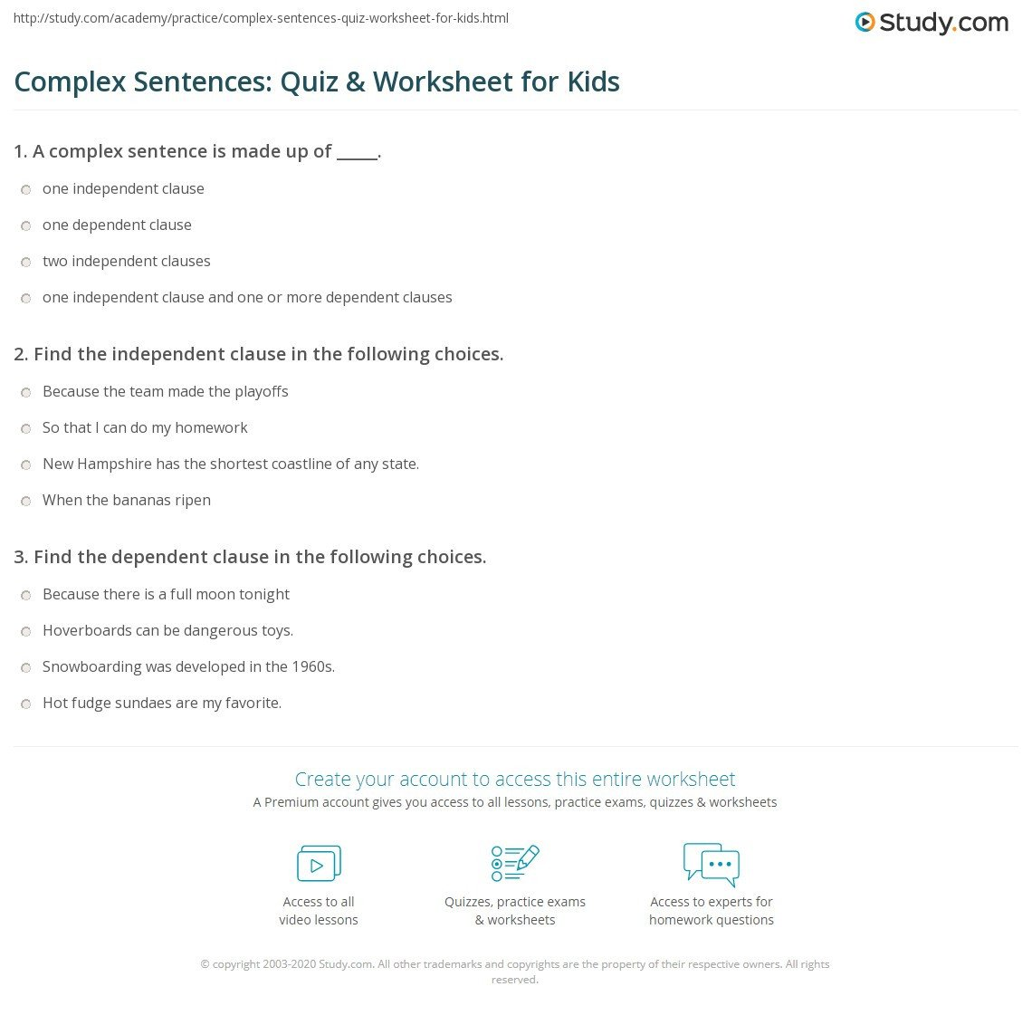 Complex Sentence Worksheets 4th Grade Plex Sentences Quiz & Worksheet for Kids