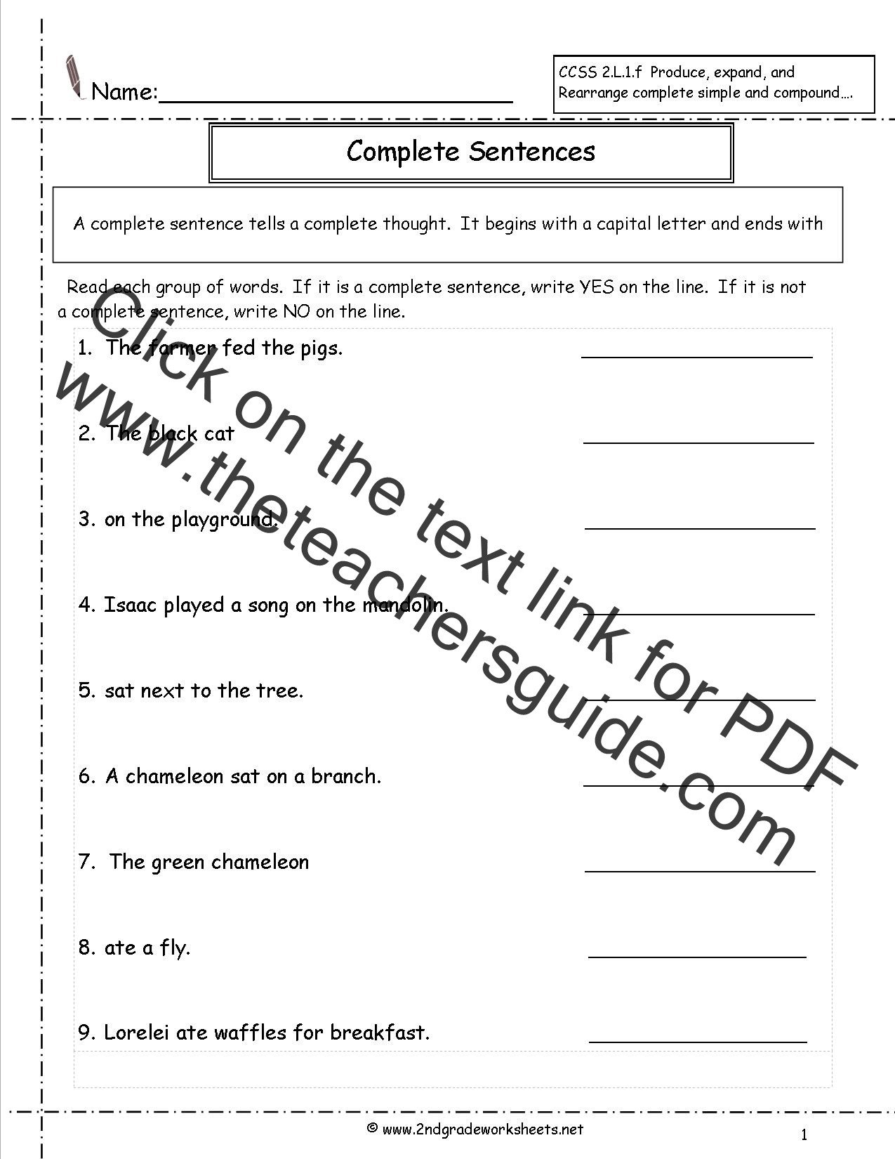 Complex Sentence Worksheets 4th Grade Second Grade Sentences Worksheets Ccss 2 L 1 F Worksheets