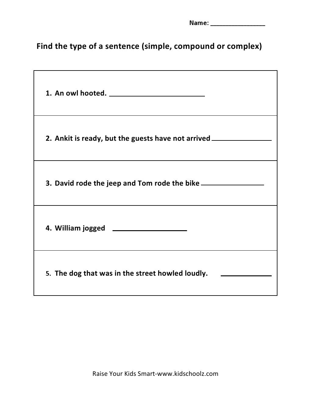 Complex Sentence Worksheets 4th Grade Types Sentences Worksheets for Educations Types Of