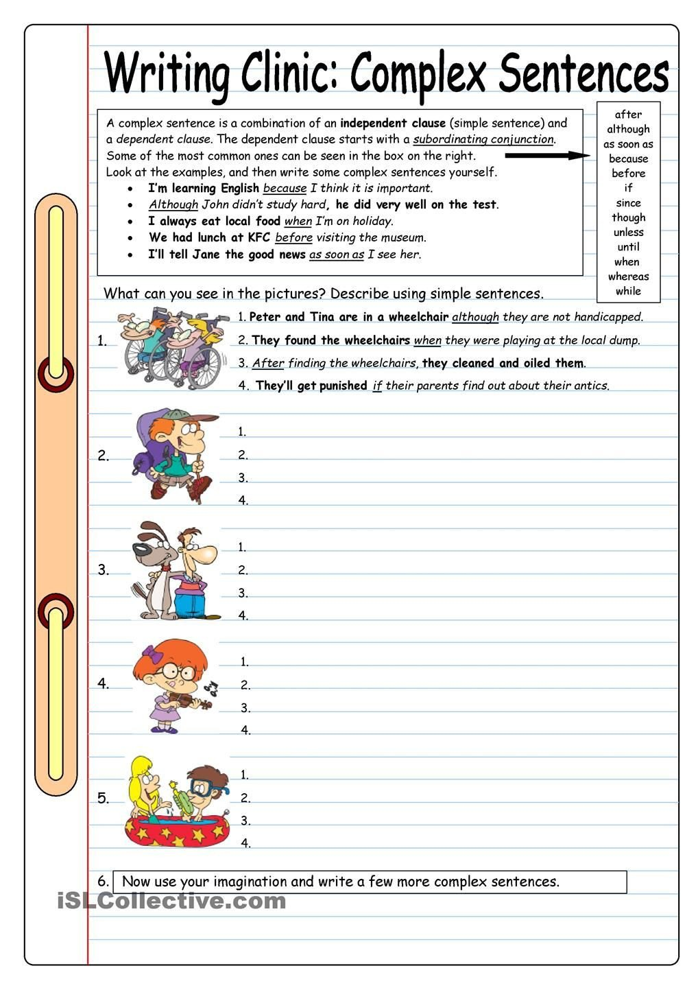 Complex Sentence Worksheets 4th Grade Writing Clinic Plex Sentences