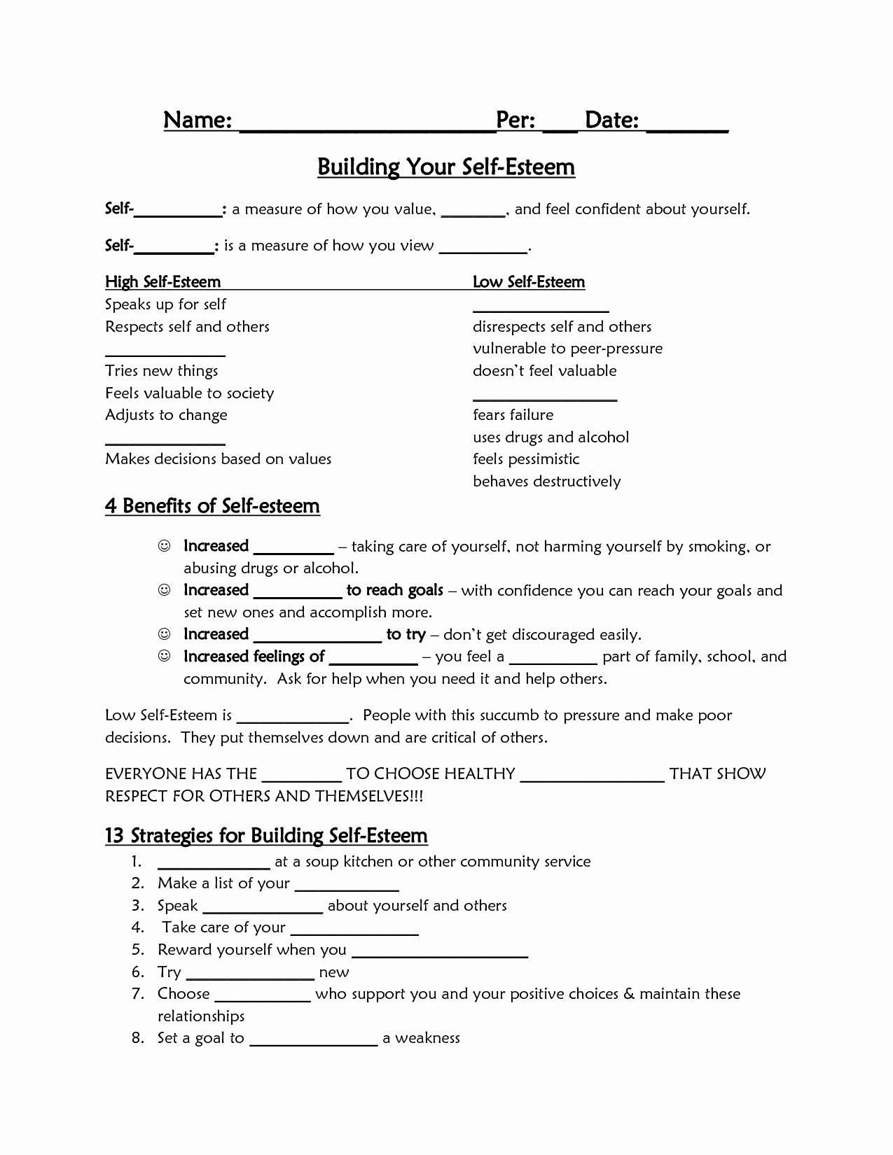 Confidence Building Worksheets Pin by Grace Salinas On Counseling Worksheets