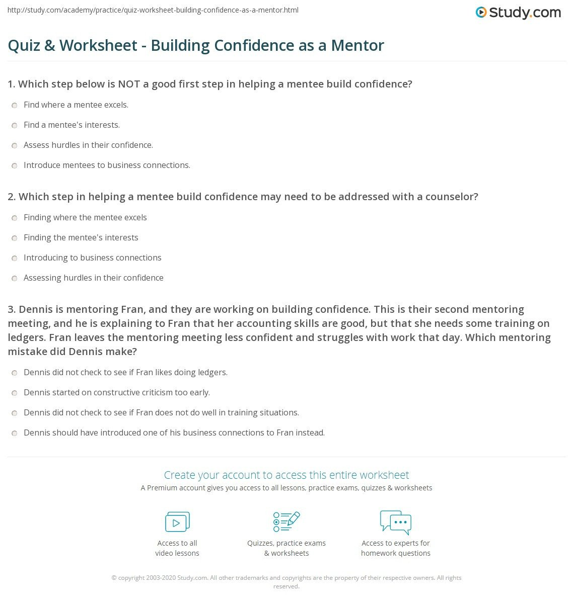 Confidence Building Worksheets Quiz & Worksheet Building Confidence as A Mentor