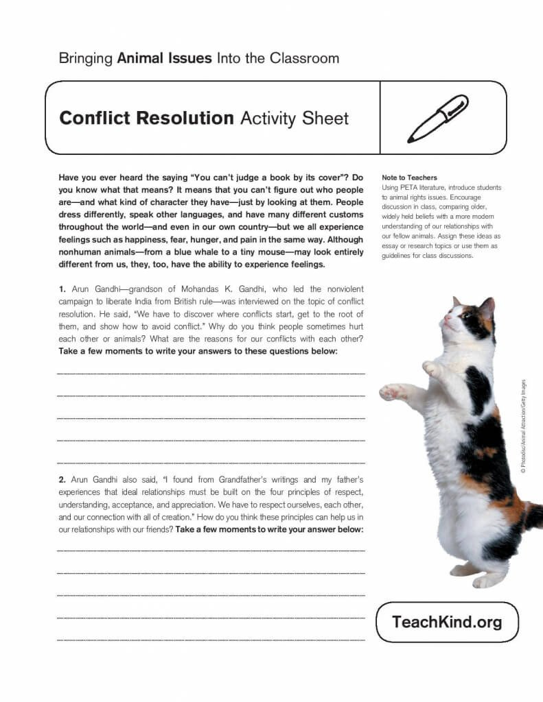Conflict Resolution Worksheets for Students Conflict Resolution Activity Sheet
