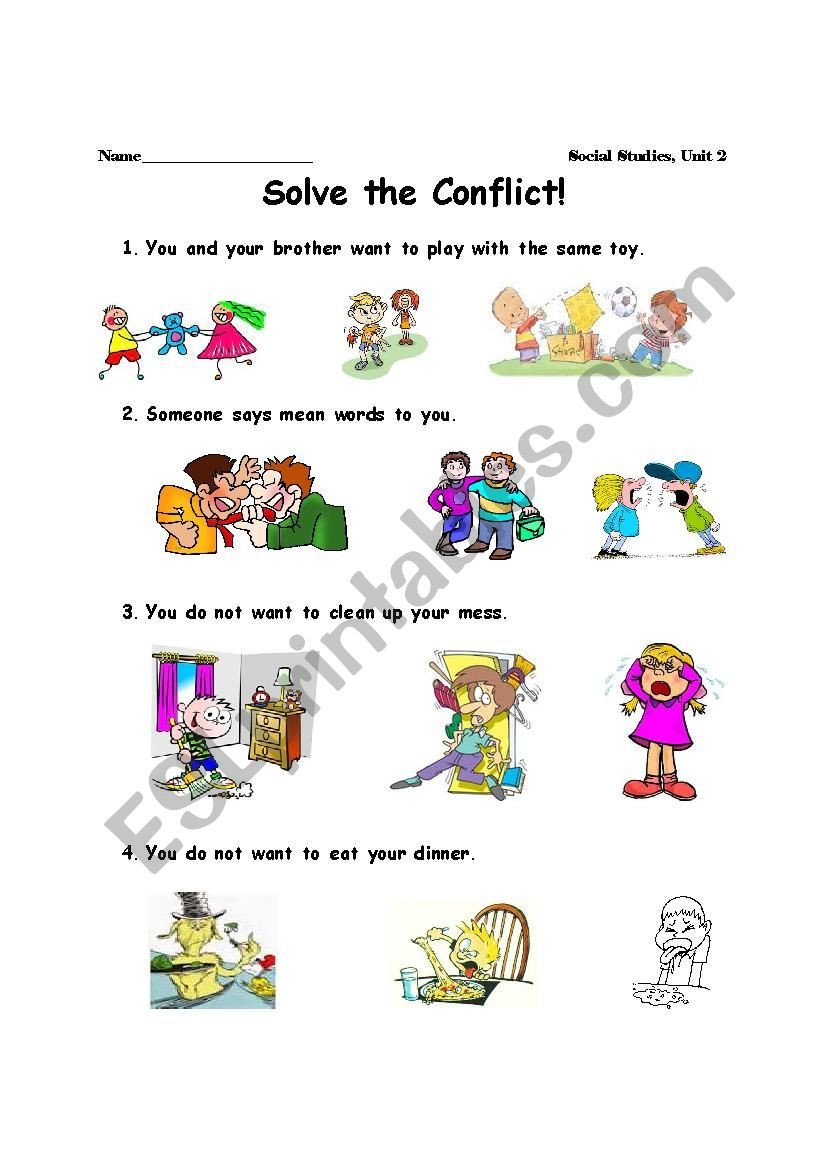 Conflict Resolution Worksheets for Students Conflict Resolution Esl Worksheet by Keelahrose