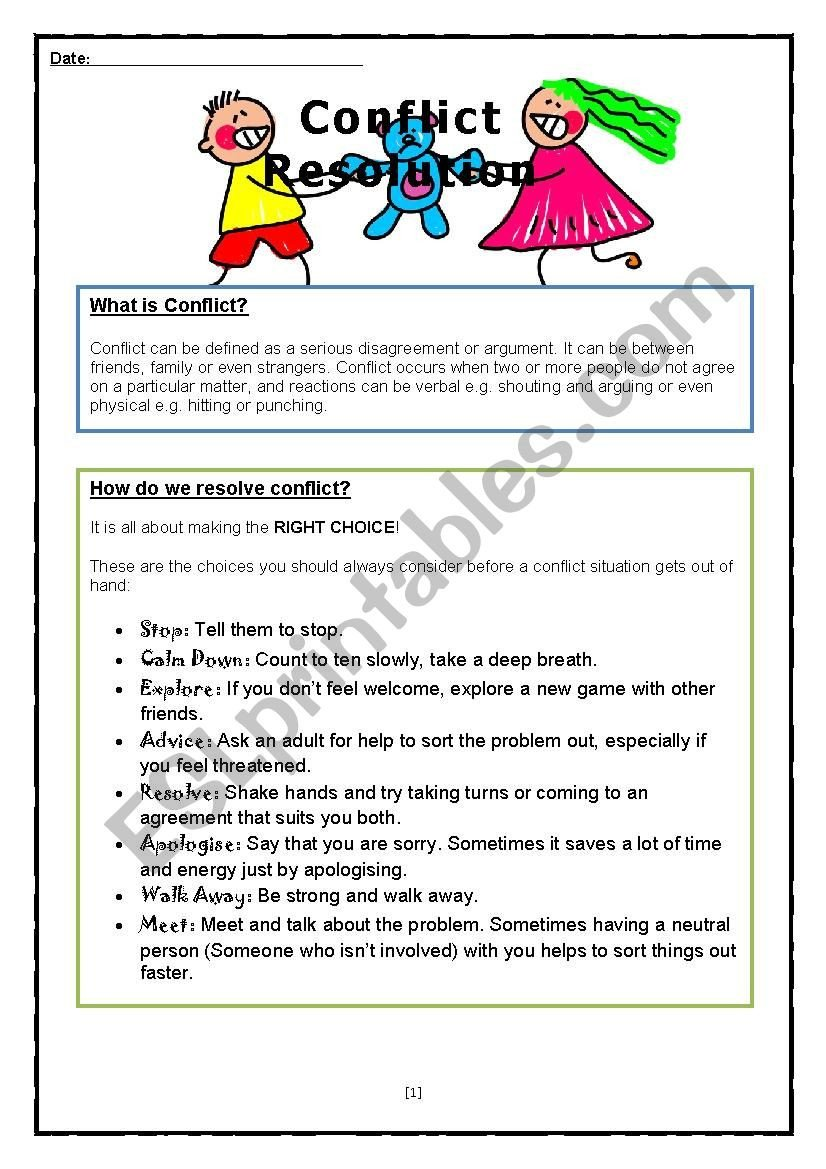 Conflict Resolution Worksheets for Students Conflict Resolution Esl Worksheet by Kirstens