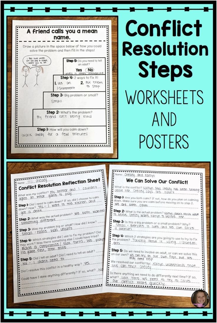 Conflict Resolution Worksheets for Students Conflict Resolution Worksheets and Posters