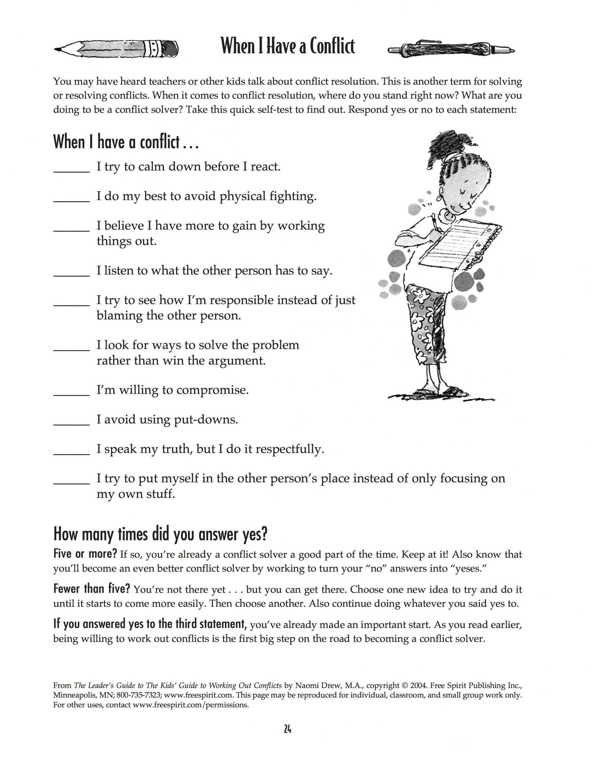 Conflict Resolution Worksheets for Students Free Printable Worksheet when I Have A Conflict A Quick
