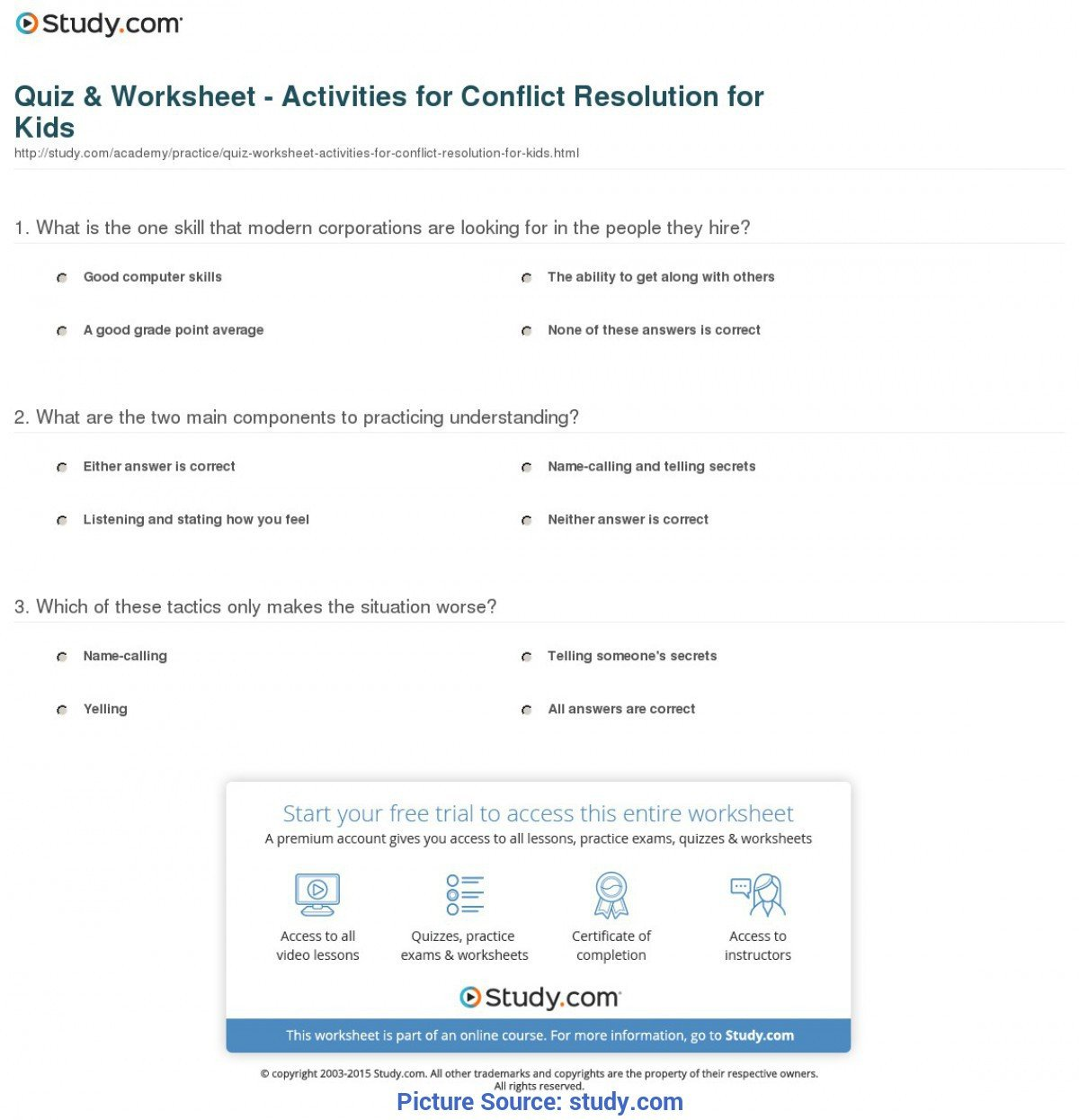 Conflict Resolution Worksheets for Students Good High School Lesson Plan Conflict Resolution Quiz