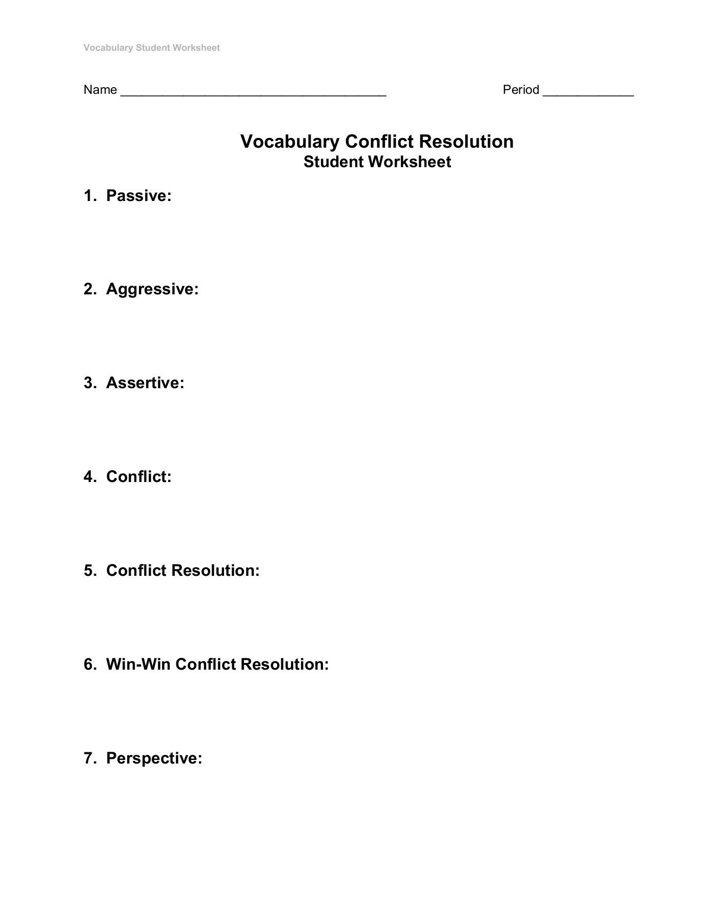 Conflict Resolution Worksheets for Students Vocabulary Conflict Resolution Student Worksheet 1