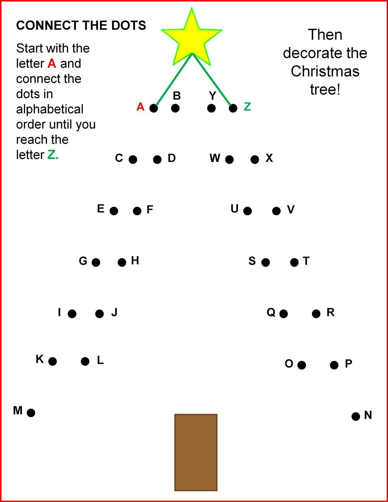 Connect the Dots Christmas Worksheets Connect the Dots Christmas Tree