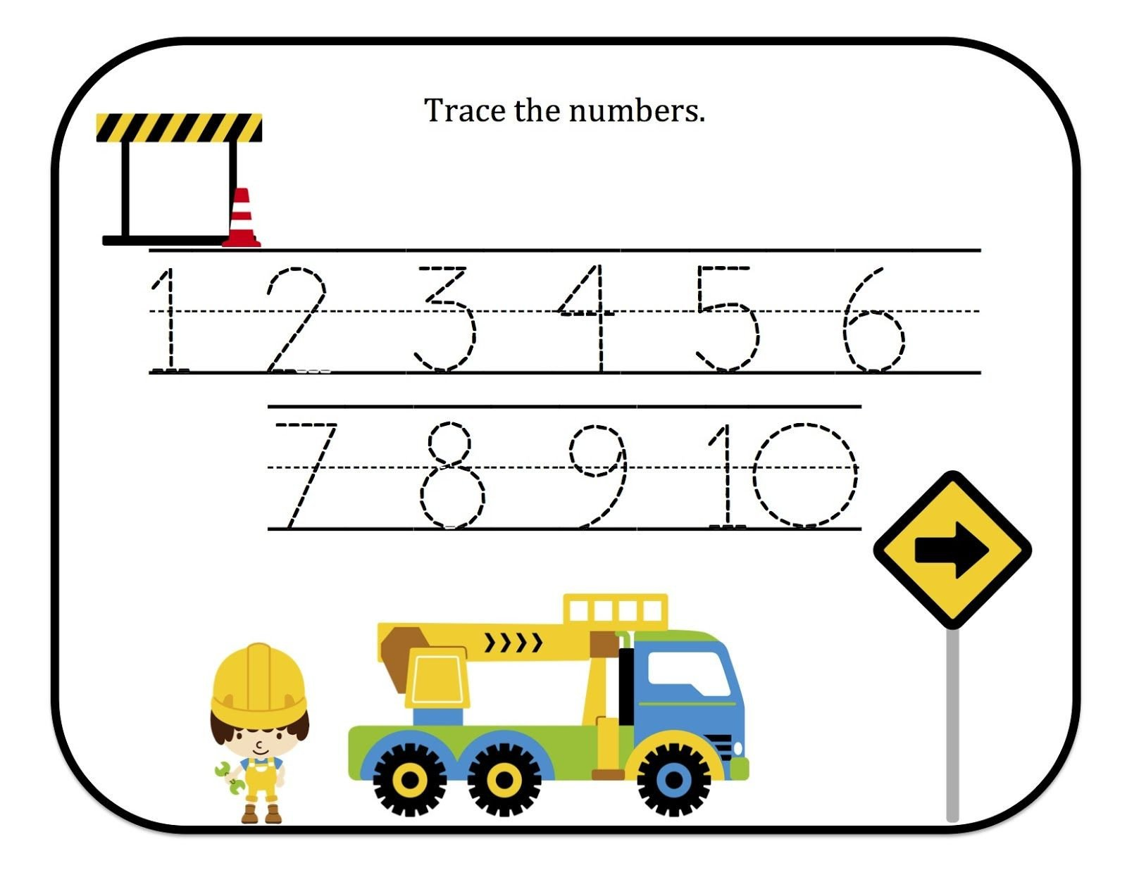 Construction Math Worksheets Construction Trace the Num 1600—1236