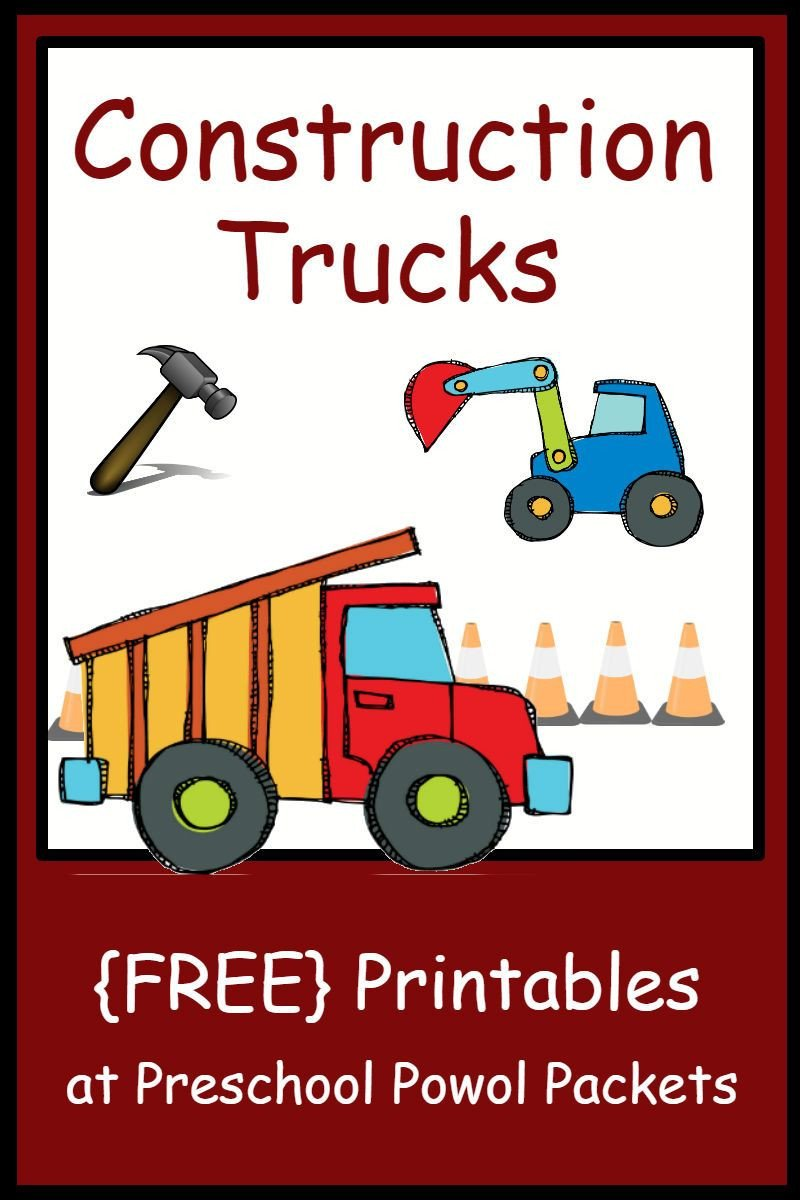 Construction Math Worksheets Free Construction theme Preschool Printables