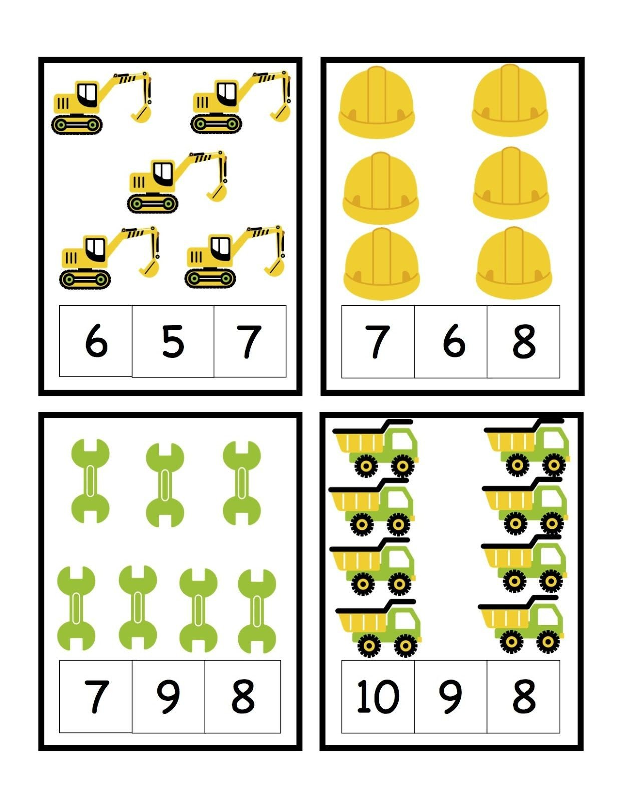 Construction Math Worksheets Preschool Printables Construction