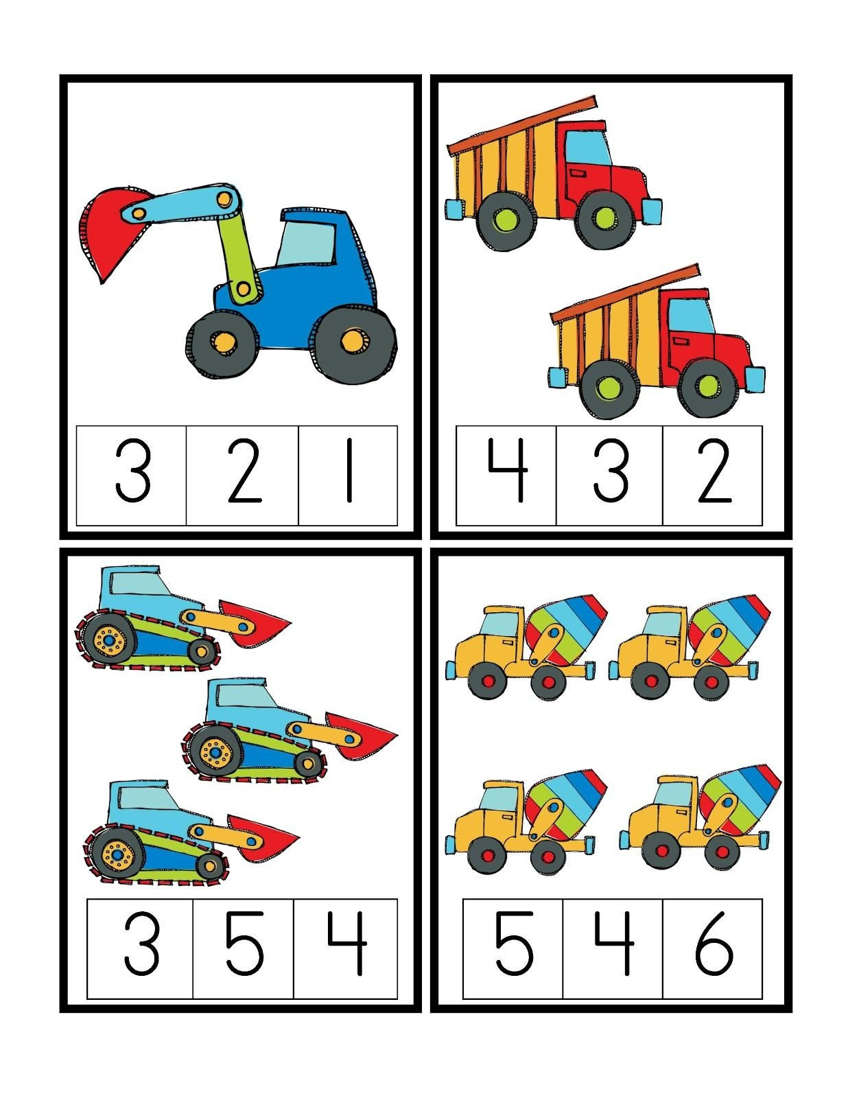 Construction Math Worksheets Preschool Printables Construction Vehicles