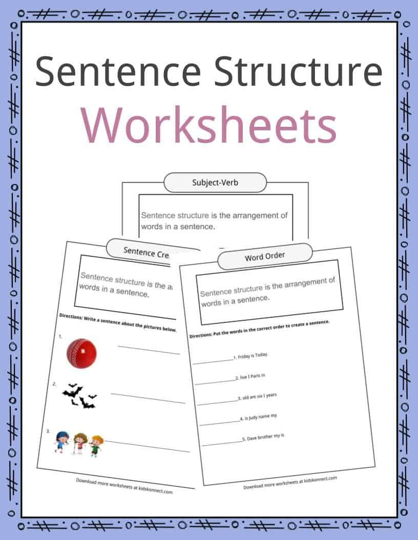 Construction Math Worksheets Sentence Structure Worksheets Examples Definition for Kids