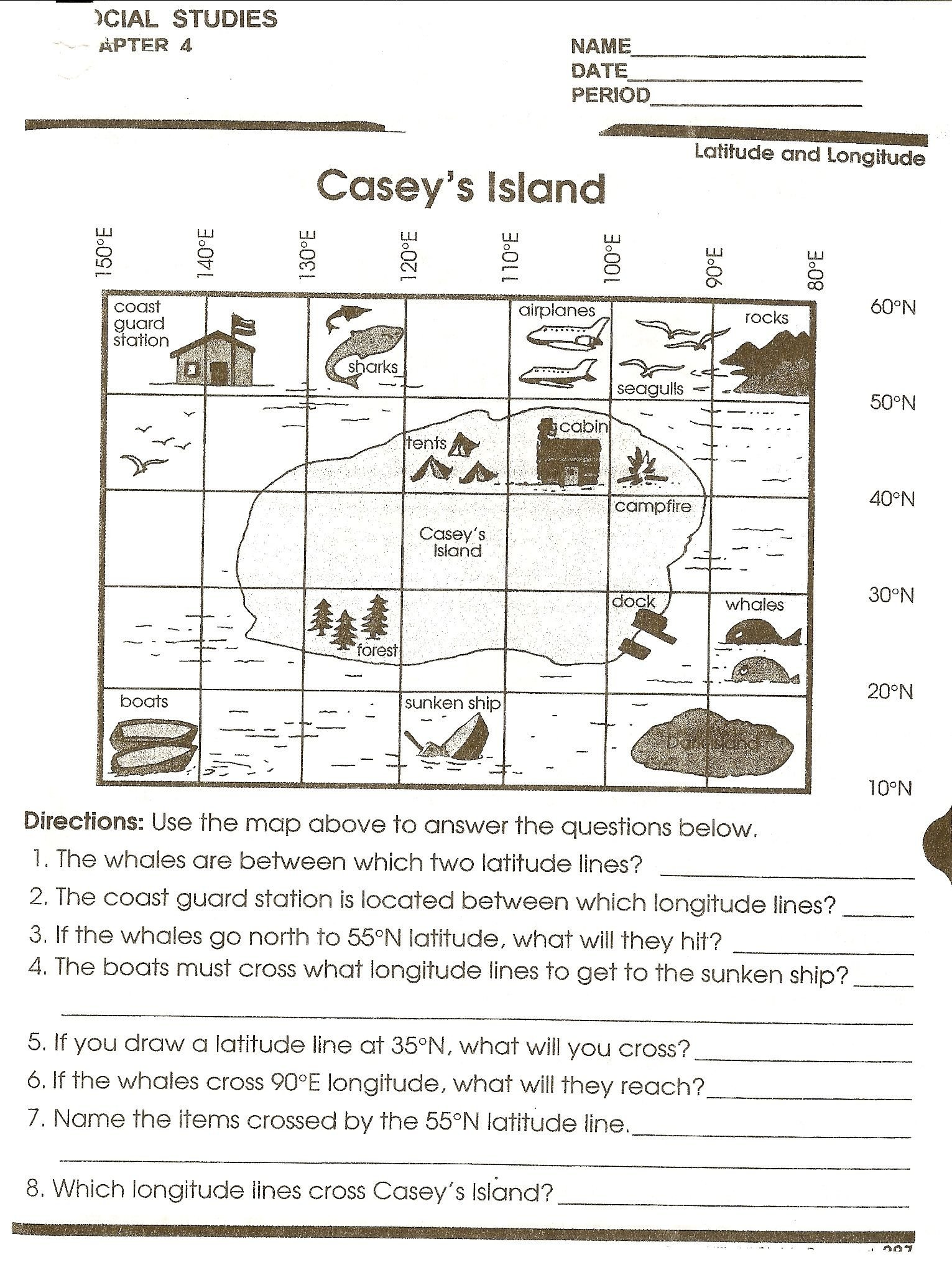 Coordinate Grid Map Worksheets Map Grid Worksheets for 3rd Graders