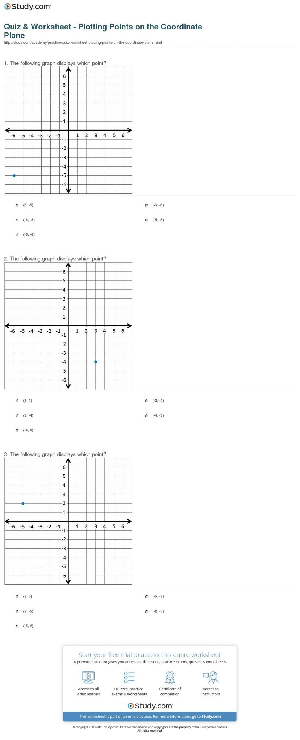 quiz worksheet plotting points on the coordinate plane 1