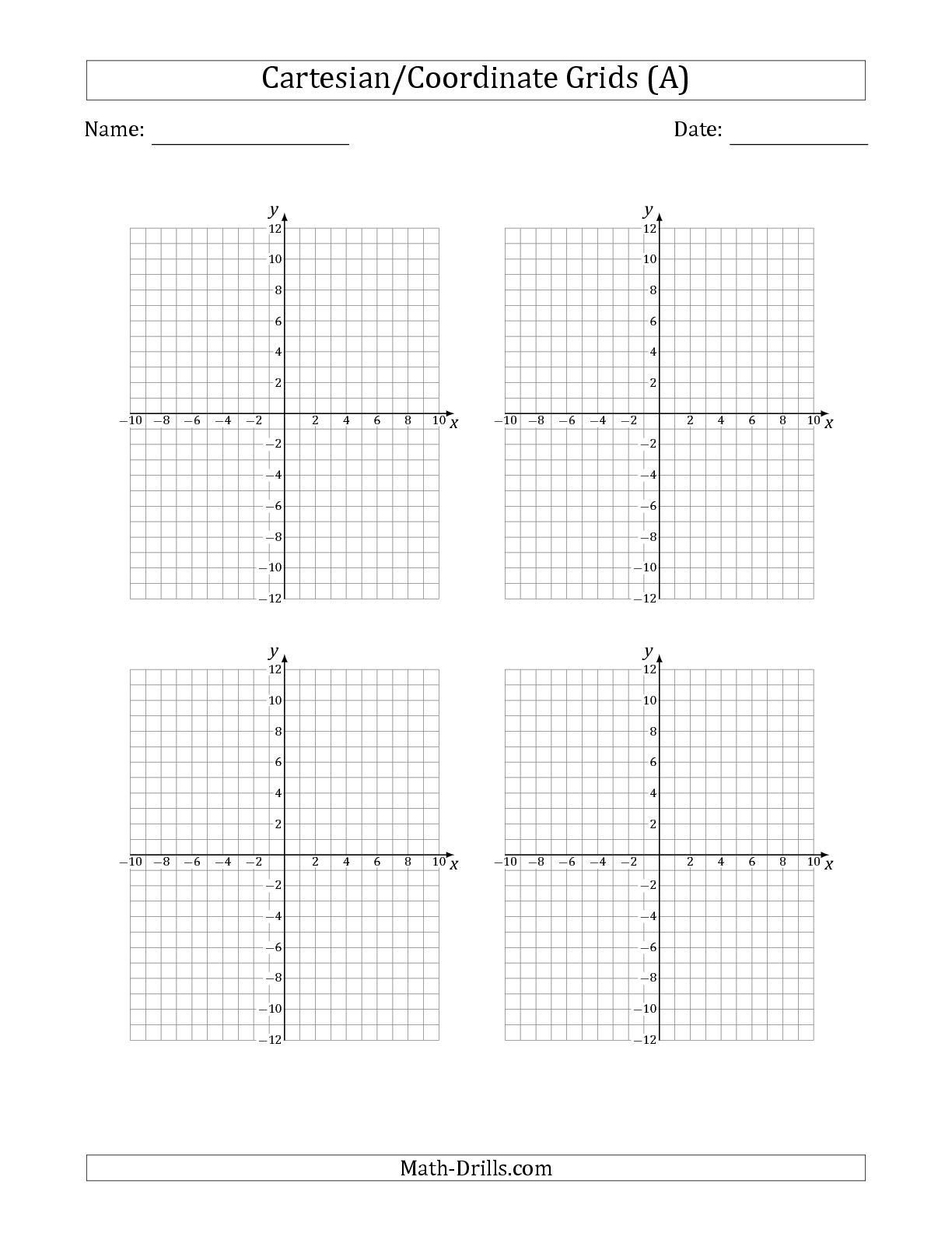 Coordinate Grid Worksheets Pdf the 4 Per Page Cartesian Coordinate Grids Math Worksheet