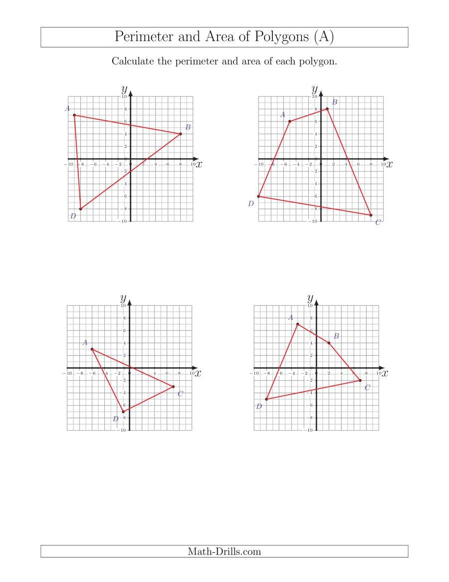 Coordinate Plane Worksheets Pdf Perimeter and area Of Polygons On Coordinate Planes A