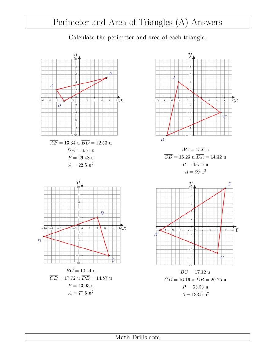 Coordinate Plane Worksheets Pdf Perimeter and area Of Triangles On Coordinate Planes A