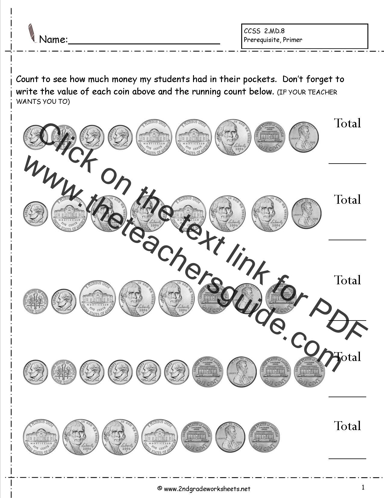 Counting Coins Worksheets 2nd Grade Counting Coins and Money Worksheets and Printouts