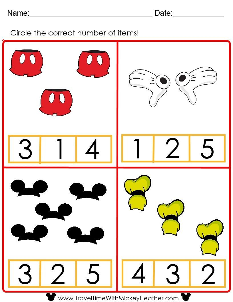 Counting Worksheets Preschool Disney Counting Worksheet