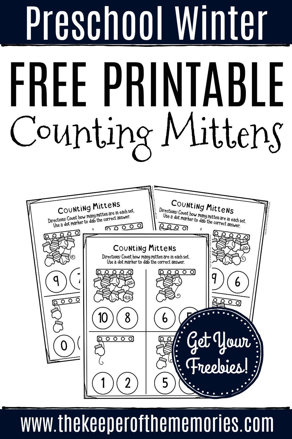 Counting Mittens Preschool Worksheets