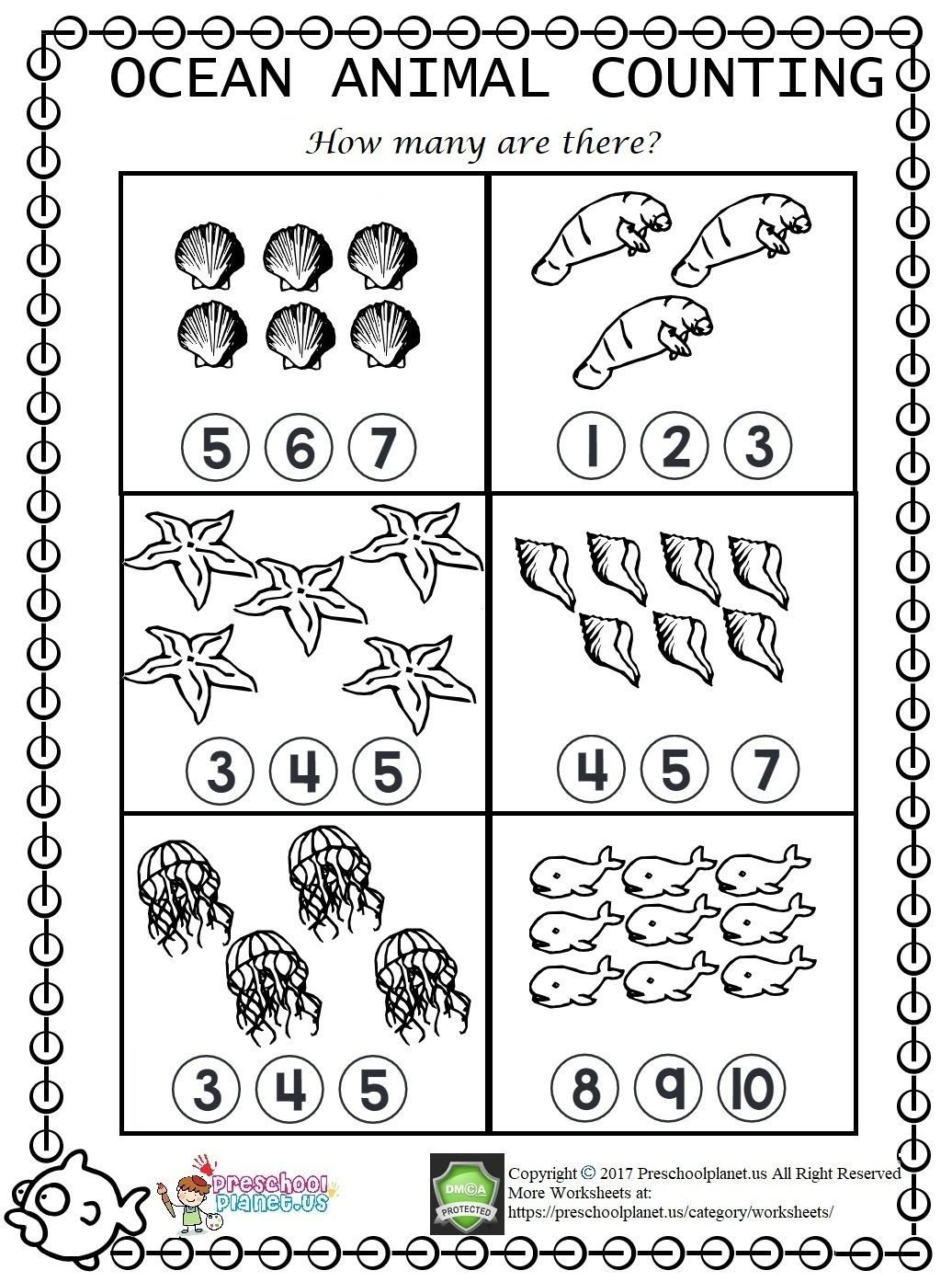 Counting Worksheets Preschool Sea Animal Counting Worksheet for Kindergarten and Preschool