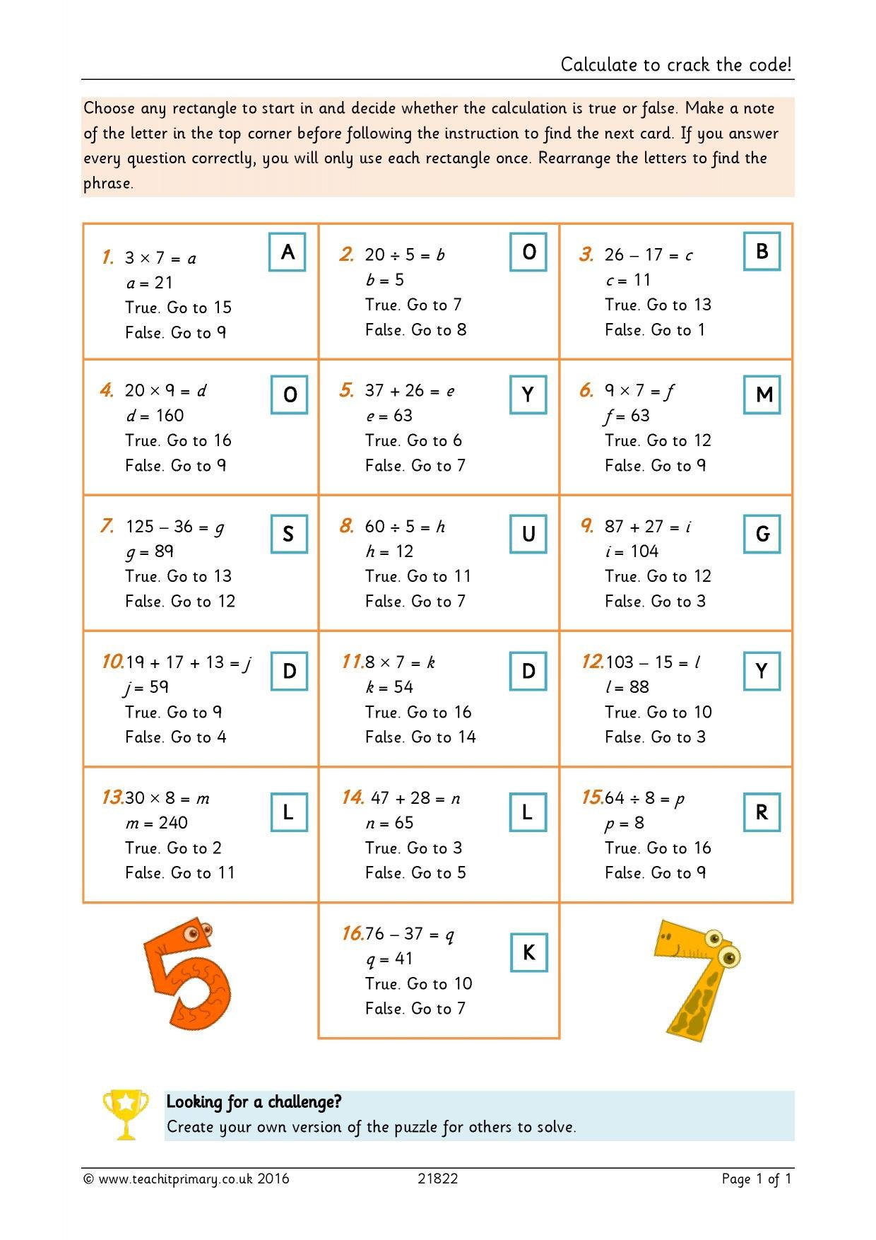 Crack the Code Math Worksheet Calculate to Crack the Code