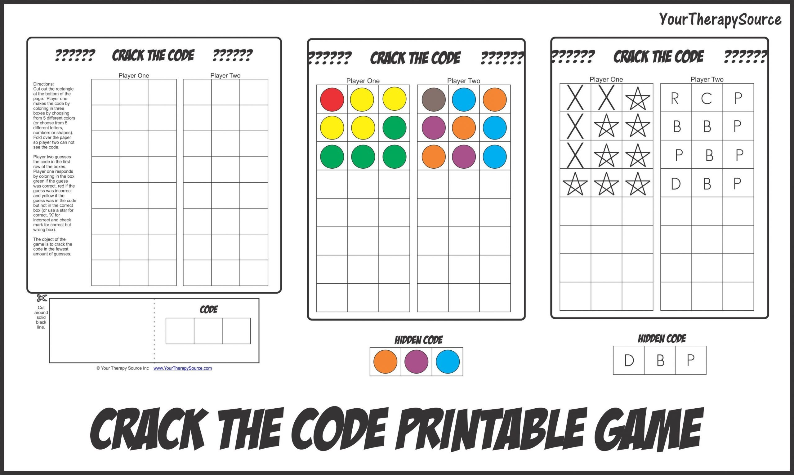 Crack the Code Worksheets Printable Crack the Code Your therapy source