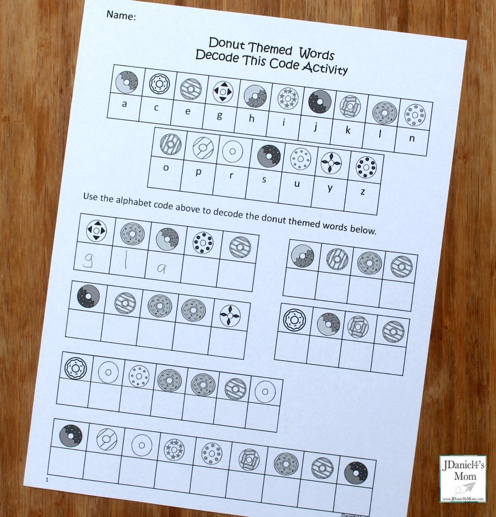 Crack the Code Worksheets Printable Donut themed Words Crack the Code Activity