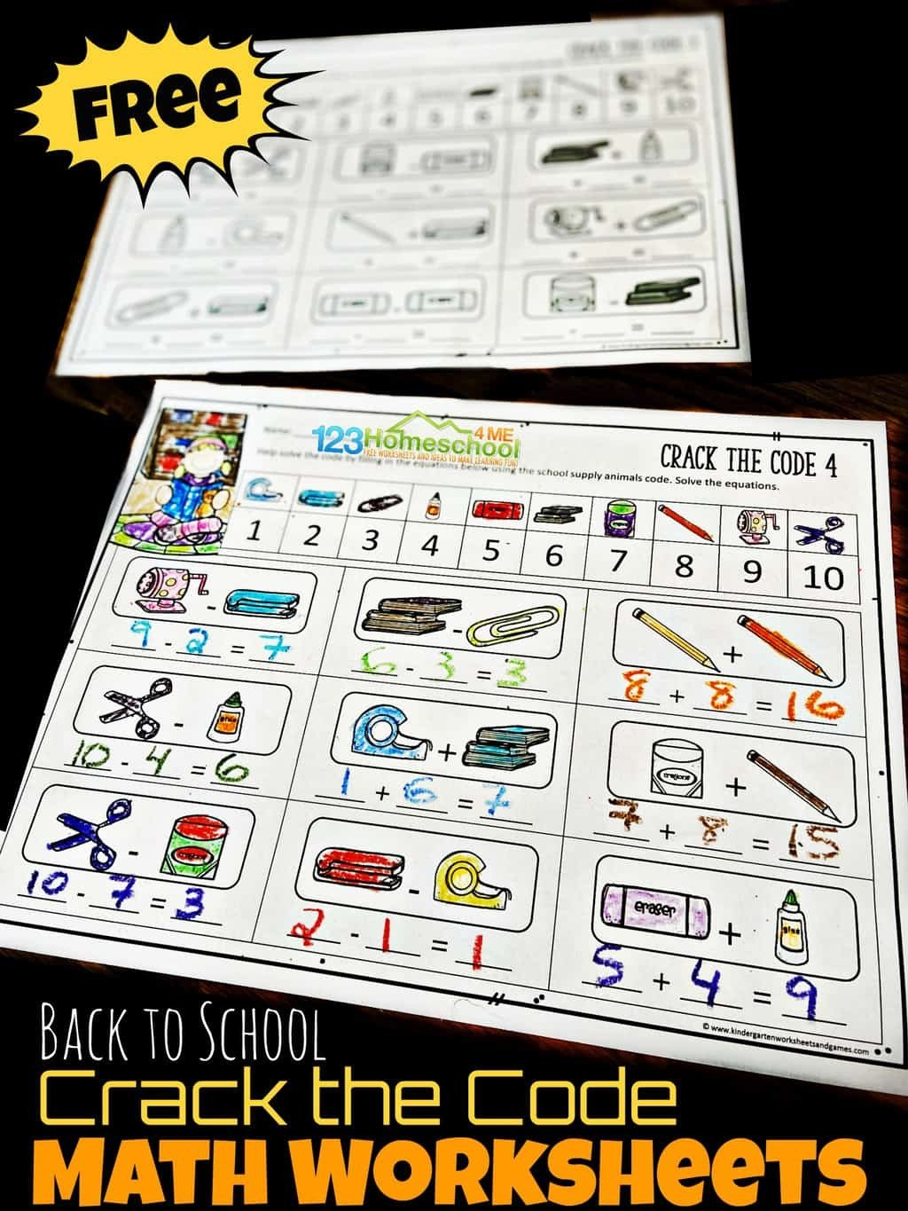 Cracking the Code Math Worksheets Free Back to School Crack the Code Worksheets
