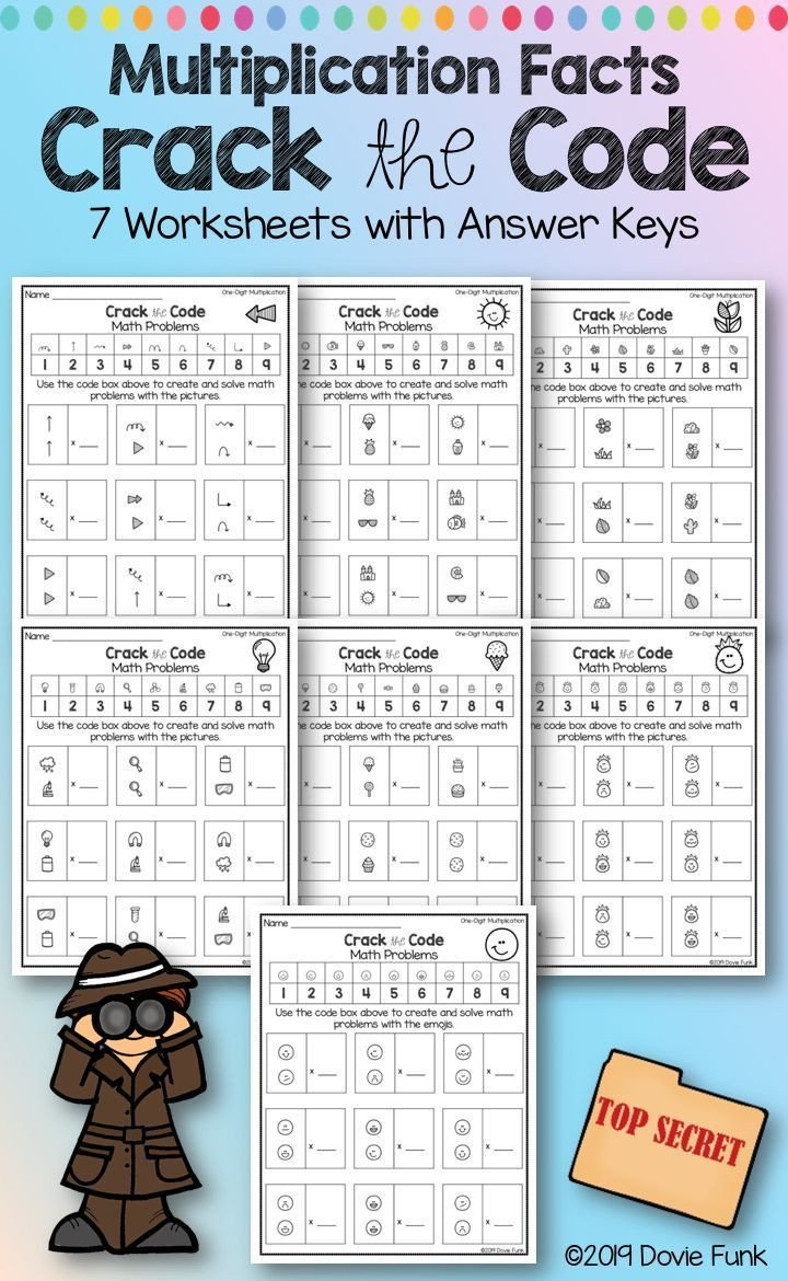 Cracking the Code Math Worksheets Multiplication Worksheets Math Crack the Code Puzzles