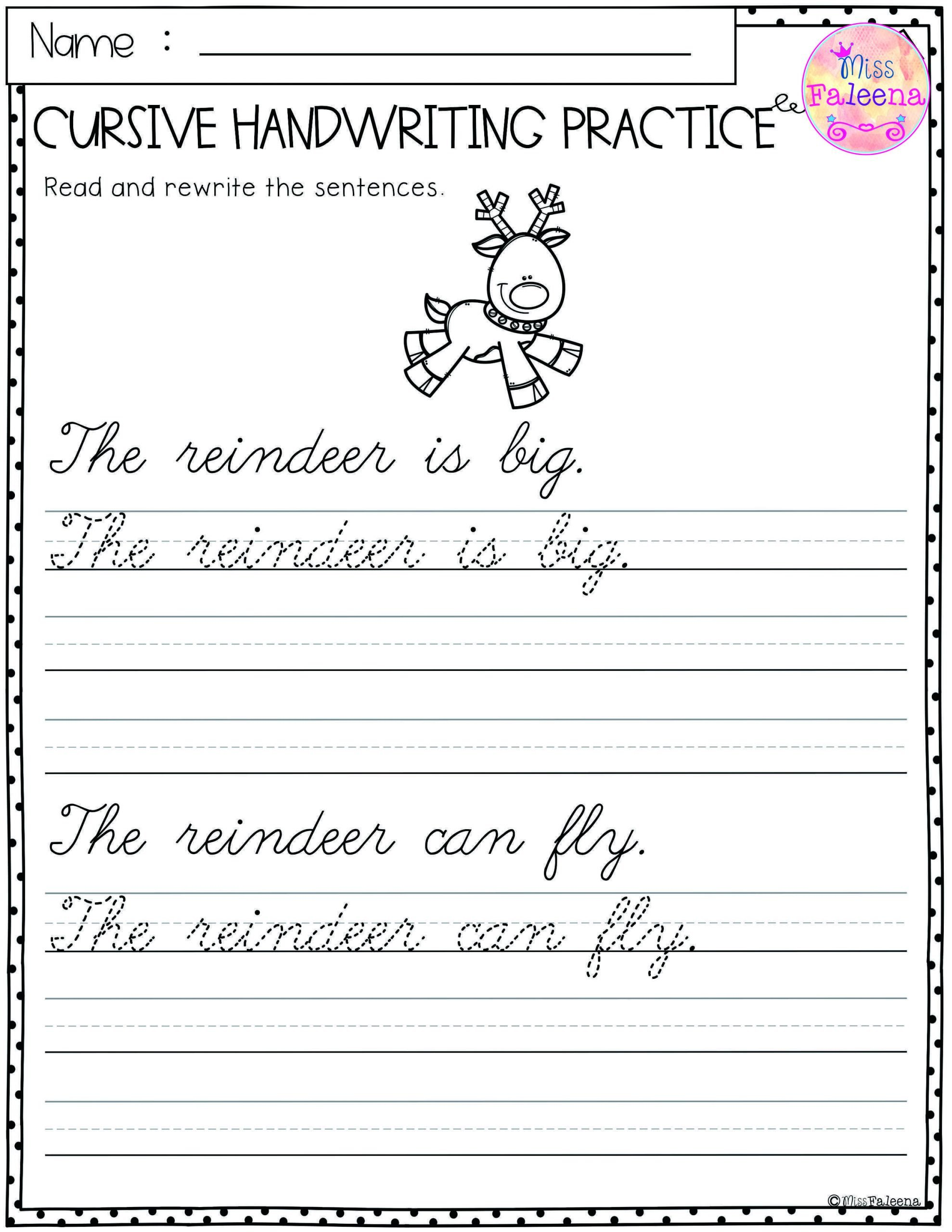 Cursive Sentence Worksheets Christmas Cursive Handwriting Practice Has 25 Pages Of