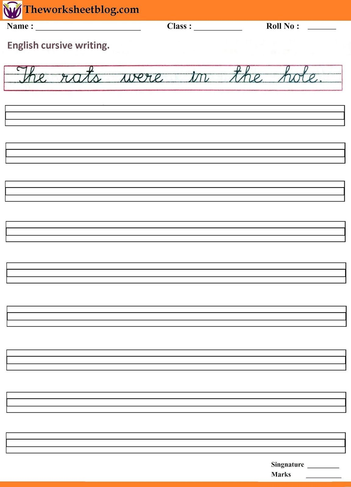 Cursive Sentence Worksheets Handwriting Sentence Worksheets