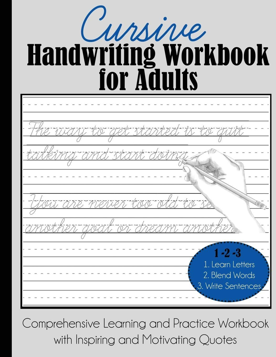 cursive handwriting workbook for adults prehensive learning practice sheets free printable