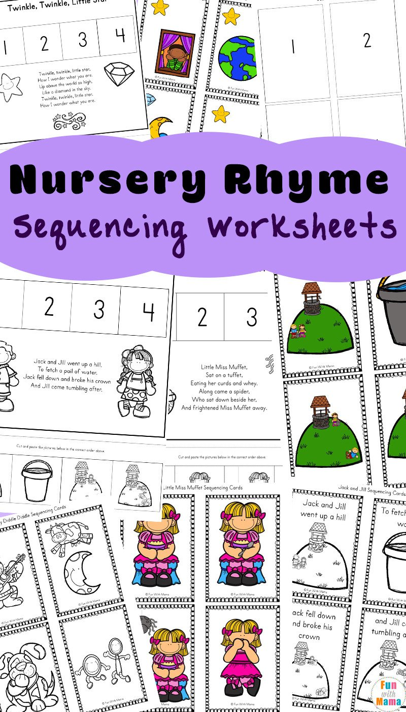 Cut and Paste Sequencing Worksheets Free Nursery Rhymes Sequencing Activities Fun with Mama