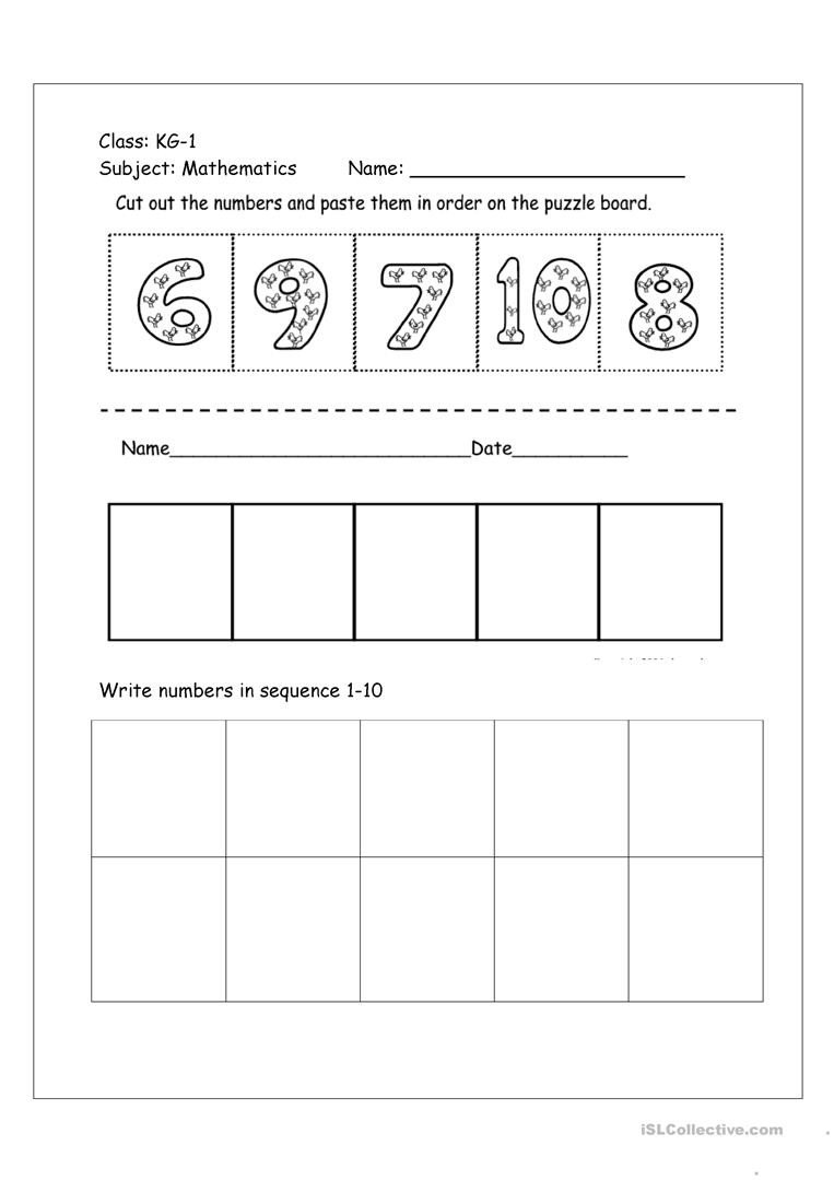 Cut and Paste Sequencing Worksheets Numbers Cut and Paste Activity Worksheet English Esl